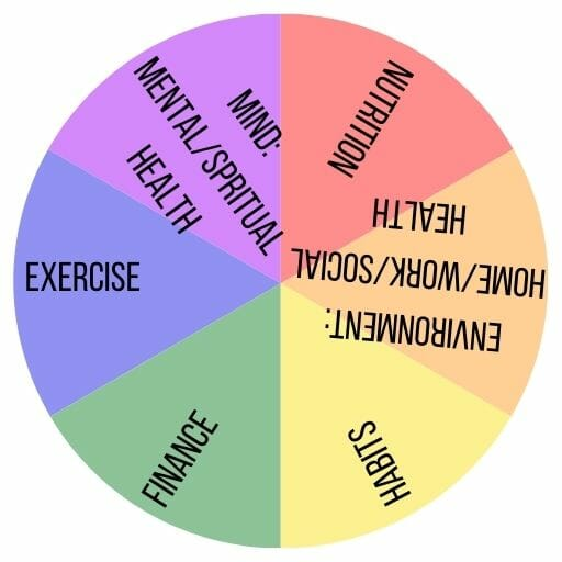 wellness wheel with 6 areas of wellness