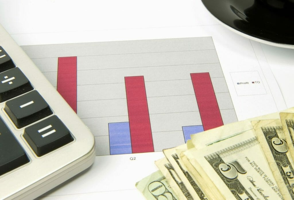 money, bar graphs and a calculator on the table for meal plan on a budget