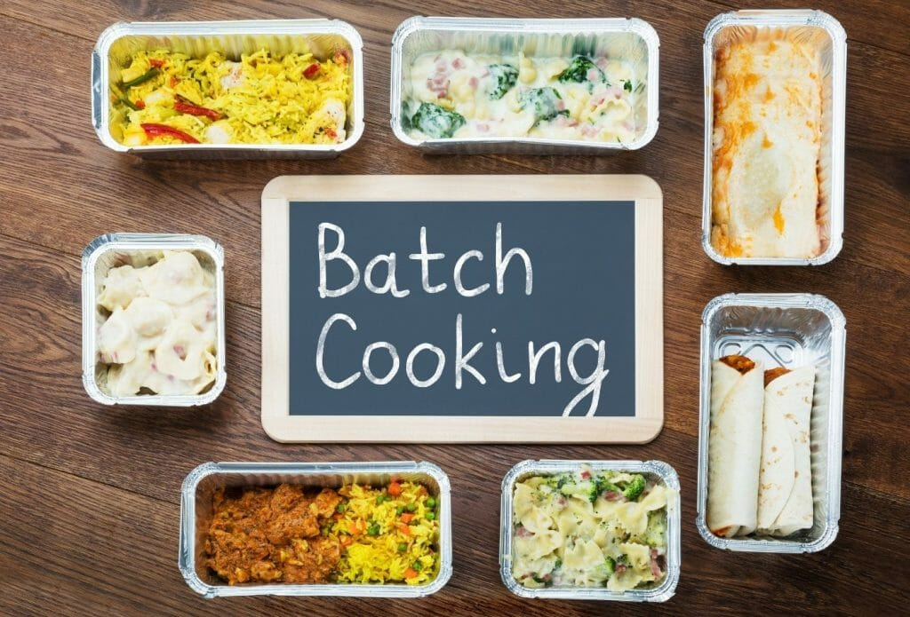 batch cooking sign with prepped meals around