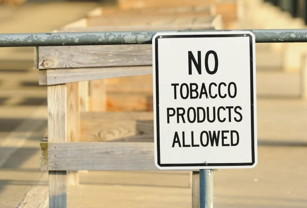 No tobacco products allowed sign
