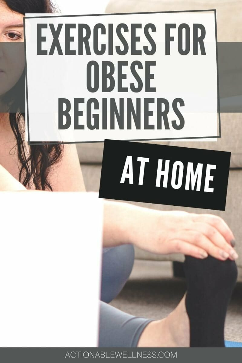obese beginner at home working out with her computer