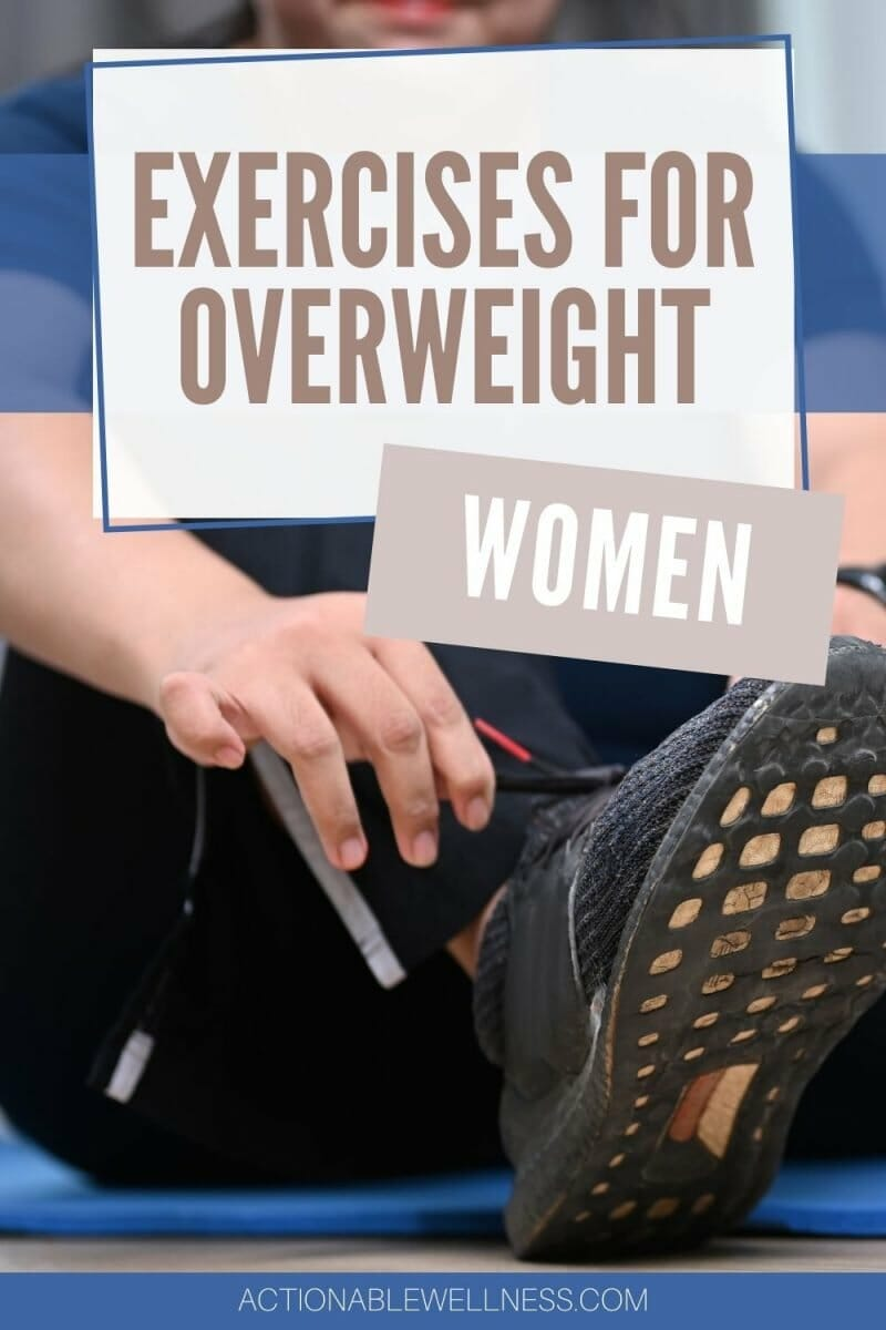 overweight woman tying shoes to exercise