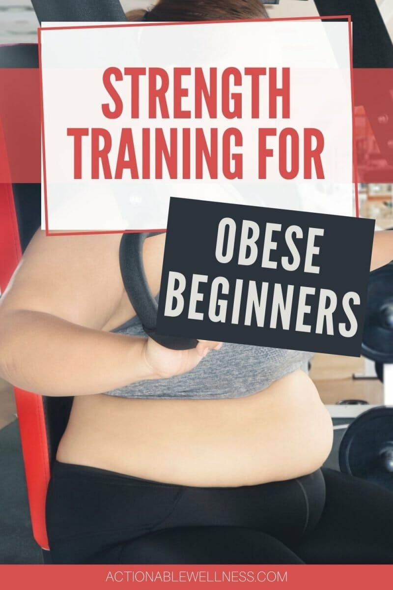 woman using machine weights to do strength training for obese beginners.