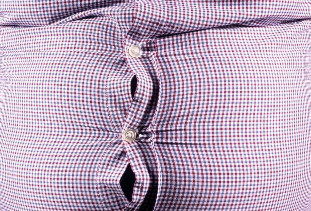 obese belly pushing out of button up shirt