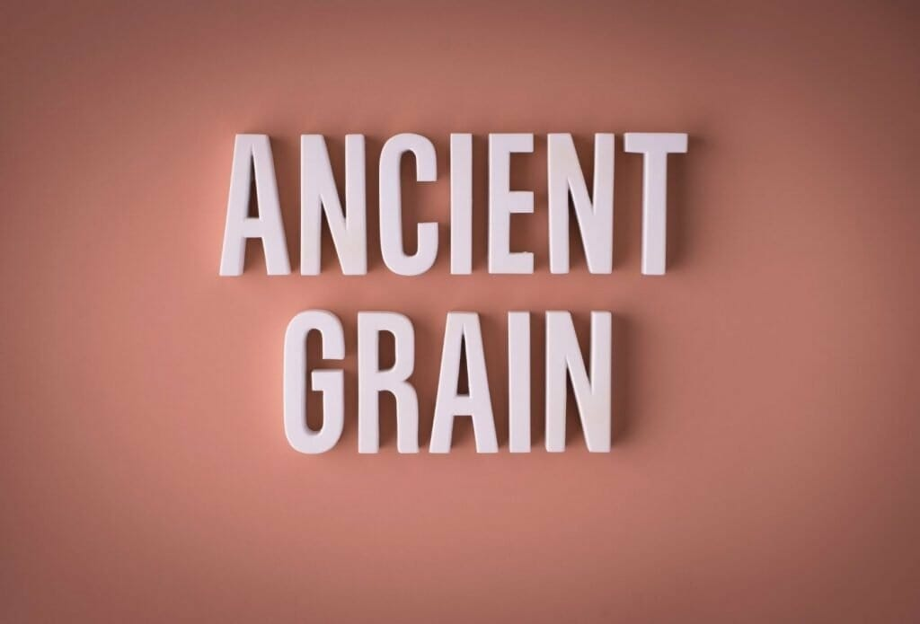 ancient grain words on a pink background