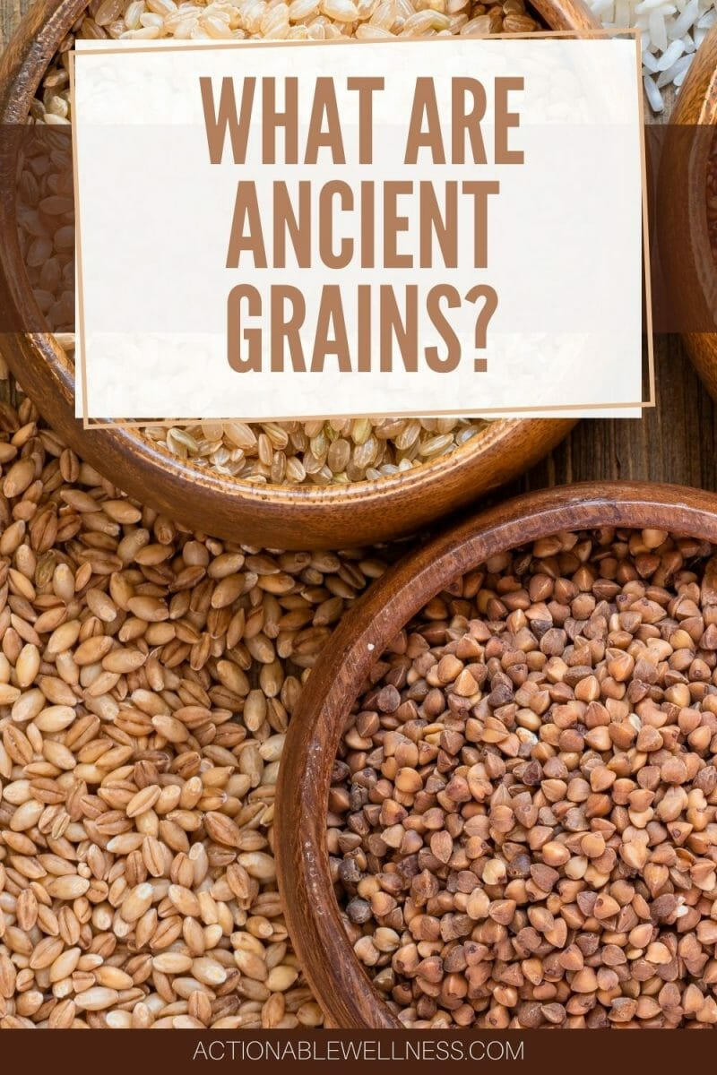 Bowls of ancient grains arranged on a table